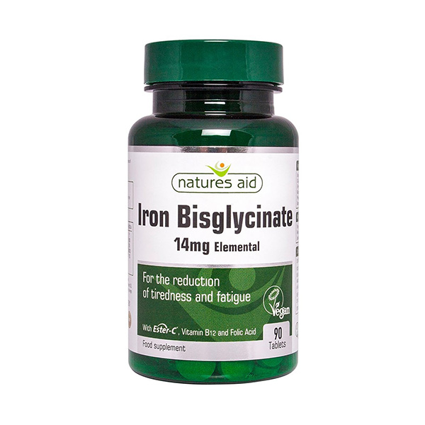 Iron Bisglycinate 90 Tablets - Natures Aid