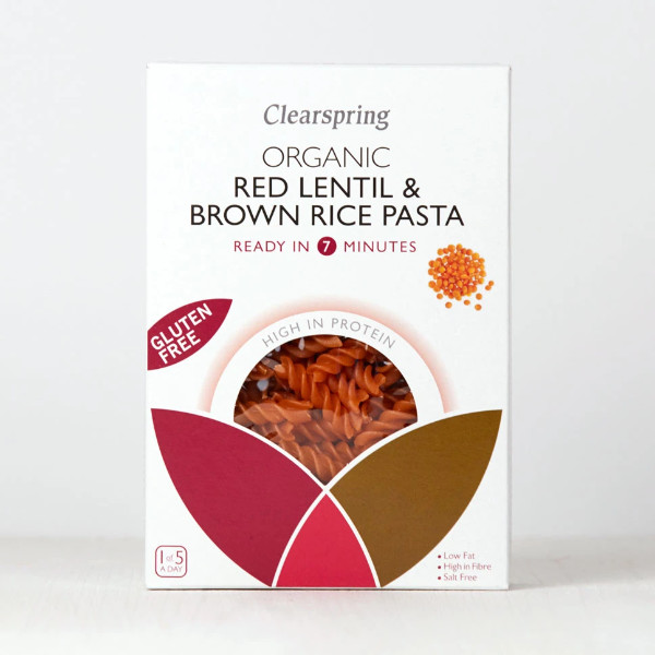 Organic Red Lentil and Brown Rice Pasta - Clearspring