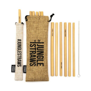 Bamboo Straws with Natural Hessian Carry Case - Jungle Straws